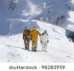 snowboarders walking along the... | Shutterstock . vector #98283959