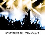 crowd cheering and hands raised ... | Shutterstock . vector #98290175