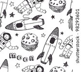 rockets and astronauts pattern | Shutterstock .eps vector #98293601