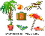 travel icons  palm  ball ... | Shutterstock .eps vector #98294357