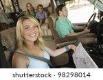 family in rv on summer road trip | Shutterstock . vector #98298014