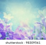 Stock photo beautiful spring background with campanula bouquet 98309561