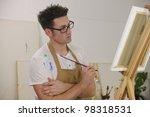 male artist painting female... | Shutterstock . vector #98318531