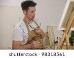 male artist painting female... | Shutterstock . vector #98318561