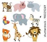 cartoon african animals set on... | Shutterstock . vector #98325269