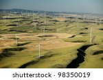 an aerial view of a wind farm | Shutterstock . vector #98350019