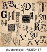 vintage alphabet   hand drawn... | Shutterstock .eps vector #98350457