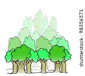 hand drawn forest illustration | Shutterstock . vector #98356571