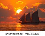 Boat On The Sea At Sunset In...