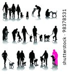 Stock vector illustration of people with dog and shadow vector 98378531
