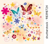 butterflies beetles flowers | Shutterstock . vector #98398724