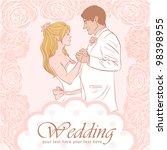 bride and groom wedding... | Shutterstock .eps vector #98398955