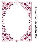 decorative hearts frame - stock photo