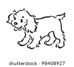 Stock vector cute puppy dog retro clipart illustration 98408927