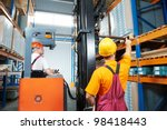 two young workers man in... | Shutterstock . vector #98418443