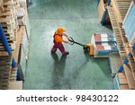 worker with fork pallet truck... | Shutterstock . vector #98430122