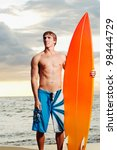 professional surfer holding a... | Shutterstock . vector #98444729