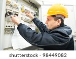 one electrician builder at work ... | Shutterstock . vector #98449082