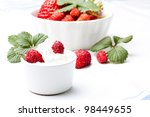 fresh strawberry with whipped... | Shutterstock . vector #98449655