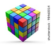 colorful cubes on a white... | Shutterstock . vector #98460014