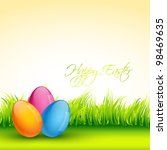 vector easter colorful eggs... | Shutterstock .eps vector #98469635