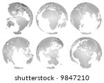 3d globes isolated on white... | Shutterstock . vector #9847210
