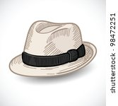 white fedora hat isolated ... | Shutterstock .eps vector #98472251