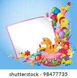 Children's birthday: toys, birthday cake, balloons, gift boxes, and  Frame for your text congratulations - stock photo