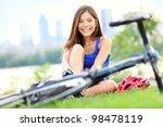 Woman Going Biking On Road Bik...