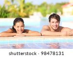young couple in pool   summer... | Shutterstock . vector #98478131