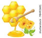 honey dipper with bee honeycomb ... | Shutterstock .eps vector #98492681
