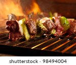 Beef Kababs On The Grill Closeup
