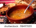 traditional bulgarian food; delicious homemade bean soup - stock photo