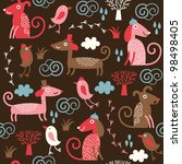 seamless pattern with cute dogs ... | Shutterstock .eps vector #98498405