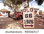 Old Route 66 Signs With Rusty...