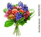 Stock photo bouquet of roses lily and geatsint 98509292