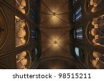ceiling structure and stained glass windows of a Gothic Cathedral - stock photo