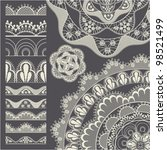 set of seamless lace borders.... | Shutterstock .eps vector #98521499