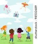 illustration of kids flying...   Shutterstock .eps vector #98532689