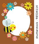 cute card with fun bee. vector... | Shutterstock .eps vector #98534114