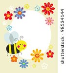 cute card with fun bee. vector... | Shutterstock .eps vector #98534144