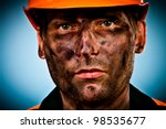 oil industry worker on blue... | Shutterstock . vector #98535677