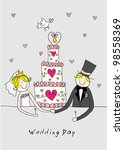 doodle bride and groom with a... | Shutterstock . vector #98558369
