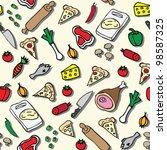 pizza seamless pattern | Shutterstock .eps vector #98587325