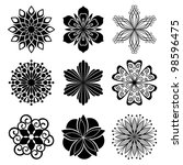 set of graphic flowers | Shutterstock .eps vector #98596475