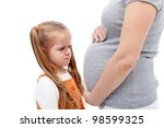 I do not want a brother - distressed crying little girl with pregnant mother belly - stock photo