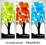 set of color banners with...
