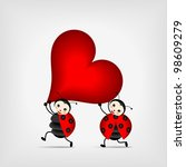 Two Happy Ladybugs Running Wit...