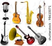 vector musical icons   Shutterstock .eps vector #98610071