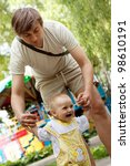 father and daughter playing in... | Shutterstock . vector #98610191